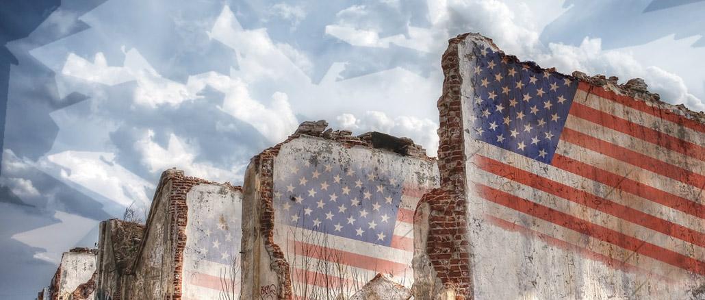 American flag on broken walls.